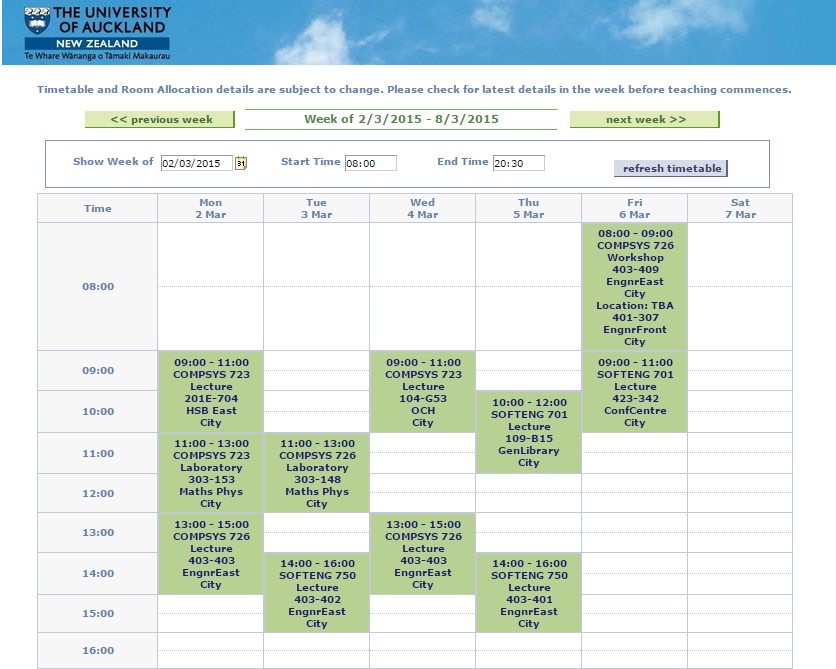 UoA Timetable, Semester 1 2015